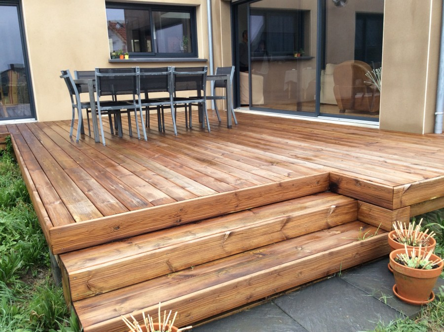 Terrasse bois pin marron Woodline