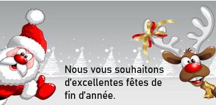 L'entreprise sera fermée pour congés de Noël du 20 décembre 2019 au 5 janvier 2020. Nous vous souhaitons d'excellentes fêtes de fin d'année.